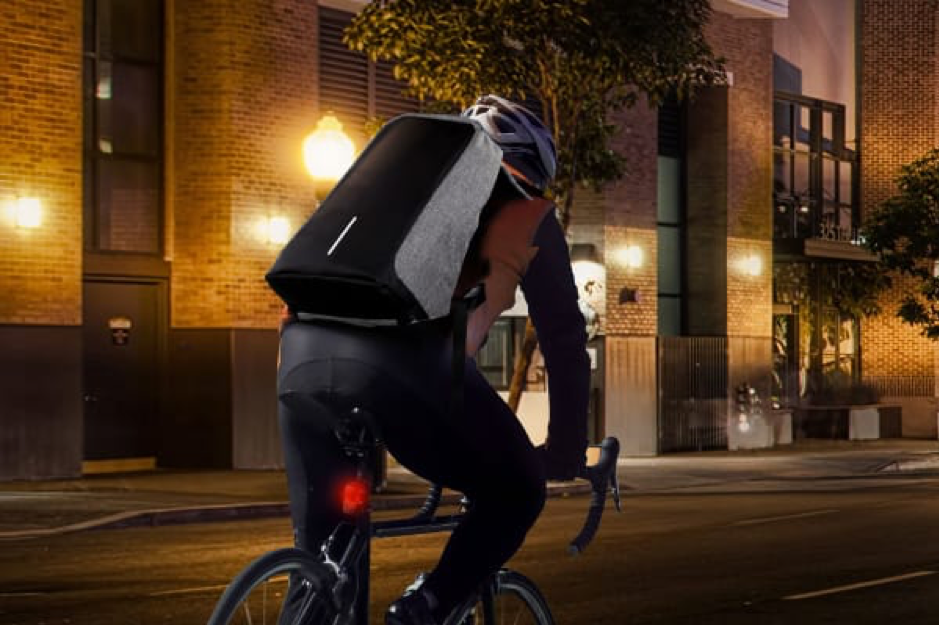 anti theft backpack on bicycle