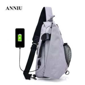Men's anti theft triangle crossbody Backpack