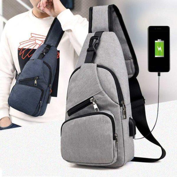 Anti theft Crossbody Backpack grey-black -