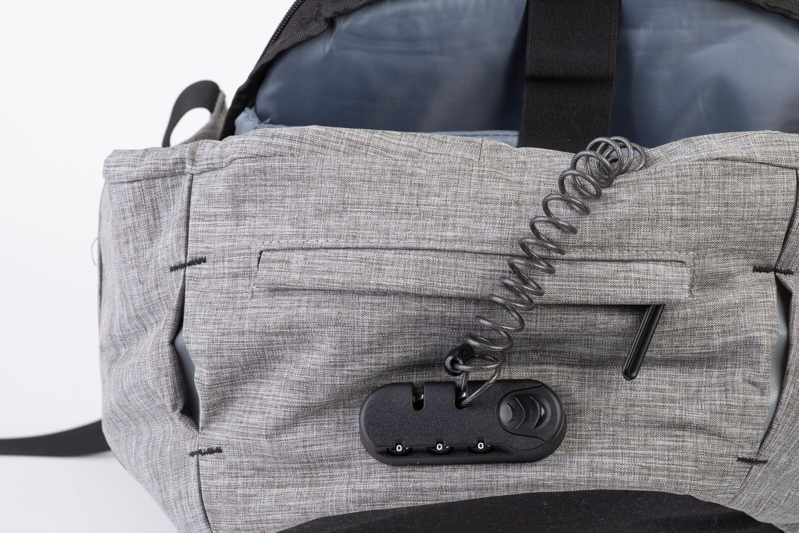 close view presentation photo of snug anti theft backpack