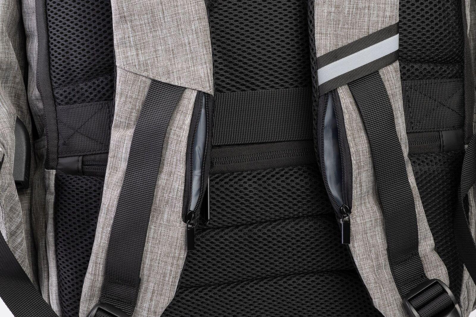close viewe secret pocket on snug backpack