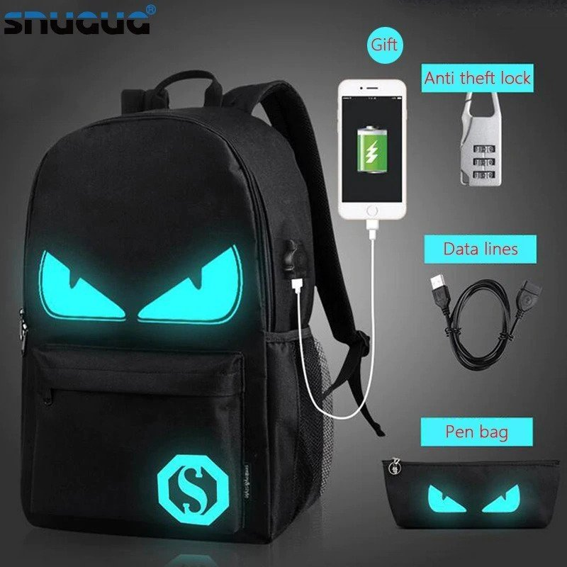Anti theft Luminous Animation backpack 1