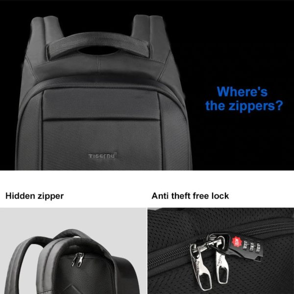 "Anti theft multi USB backpack – 15.6""3"