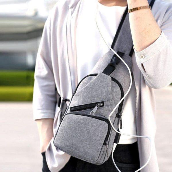 Anti theft Crossbody Backpack grey-black - 3