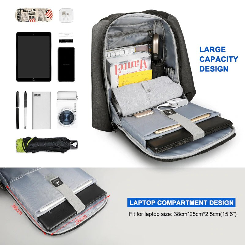 "Anti theft multi USB backpack – 15.6""4"