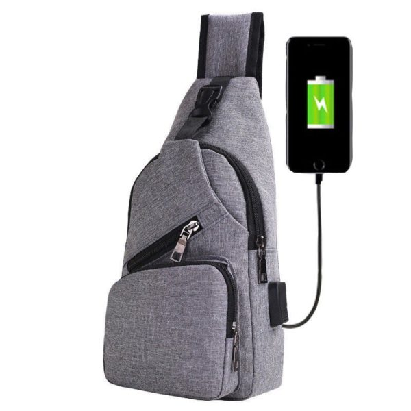 Anti theft Crossbody Backpack grey-black - 6