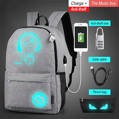 Anti theft Luminous Animation backpack 8